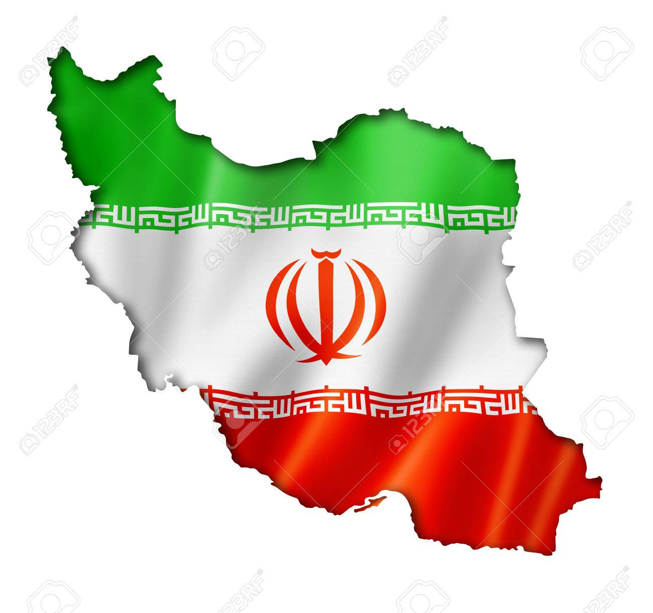 Iran Flag Map Three Dimensional Render Isolated On White Stock