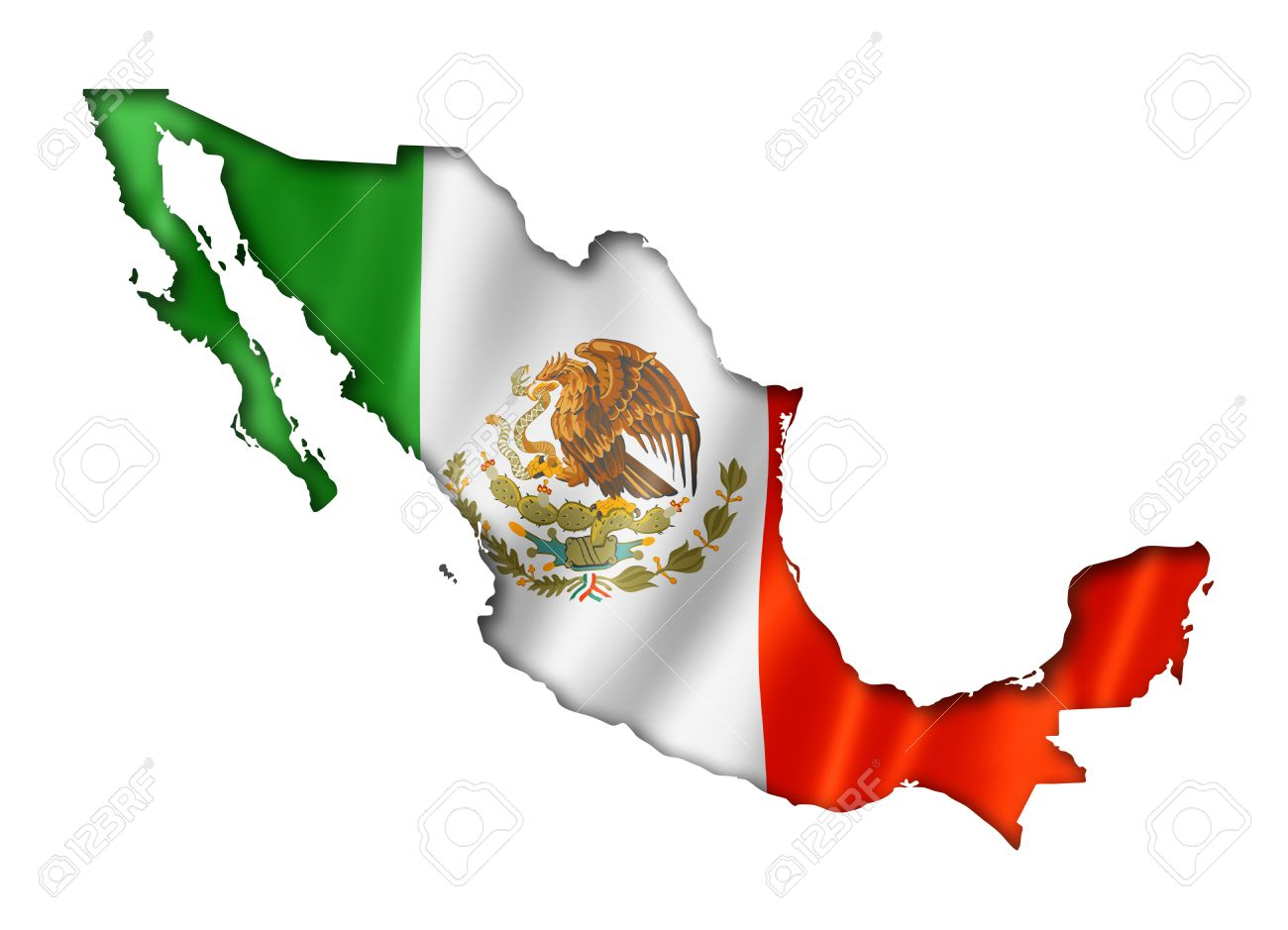 mexico flag map three dimensional render isolated on white stock