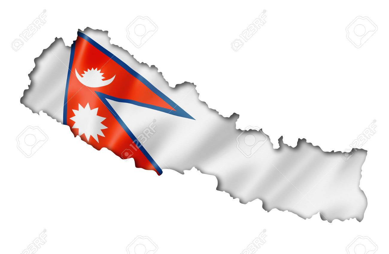 Nepal Flag Map, Three Dimensional Render, Isolated On White Stock ...