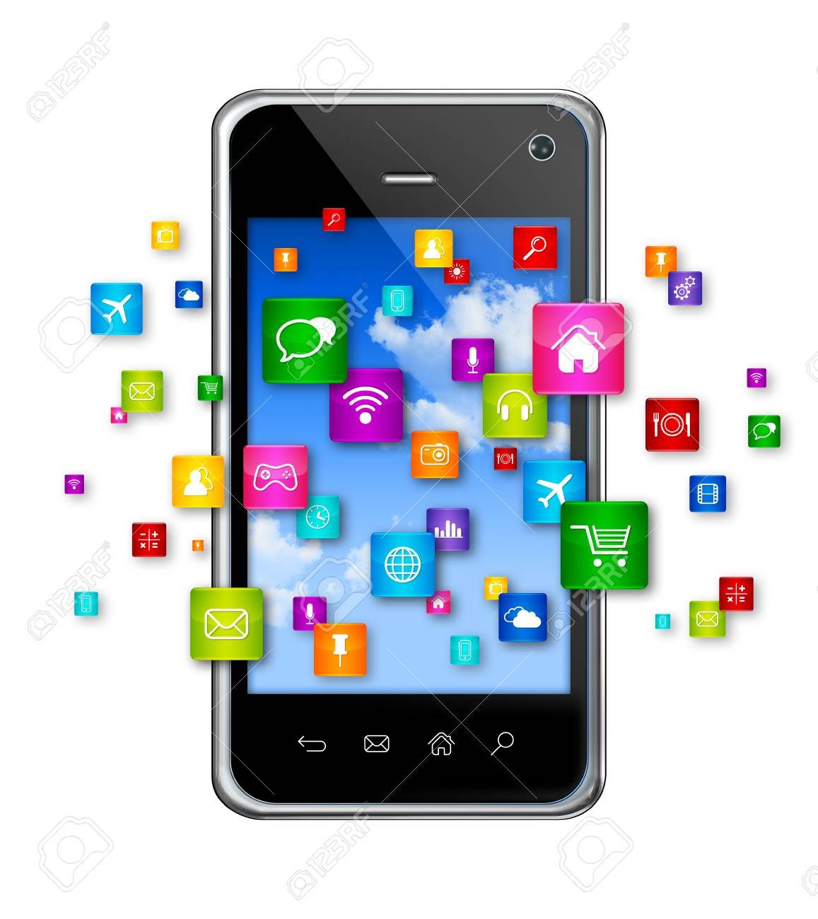 3d mobile phone with flying apps icons - isolated on white stock