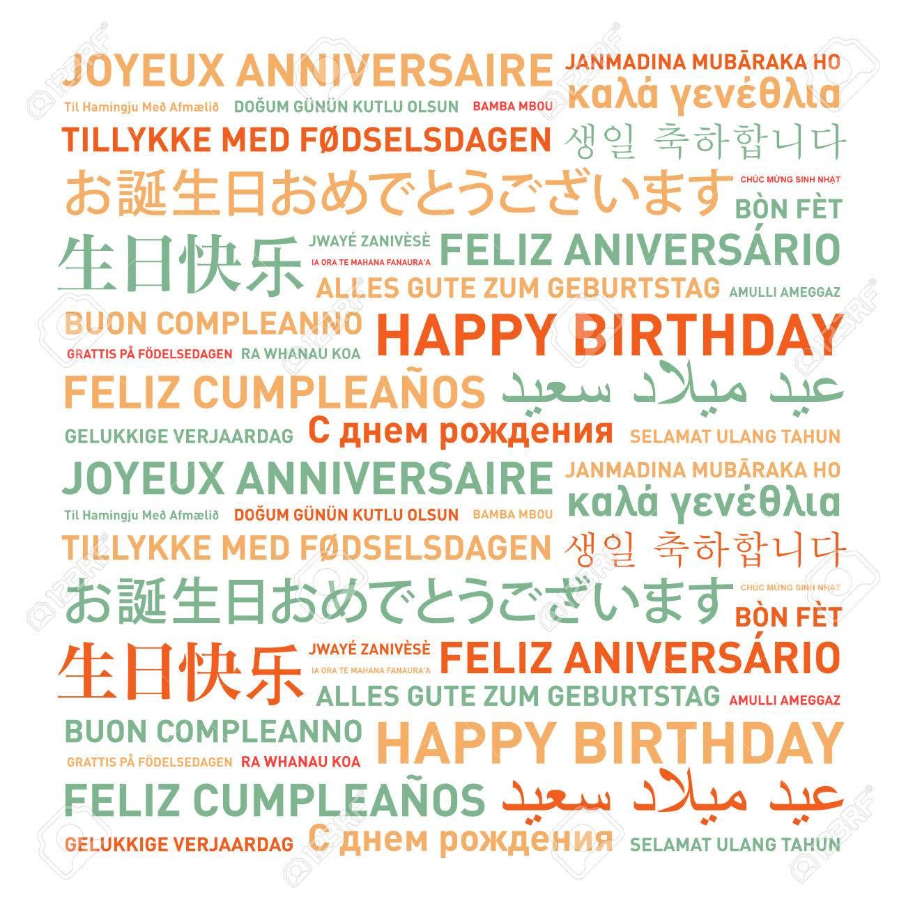 Joyeux Anniversaire Du Monde Differentes Langues Carte Celebration