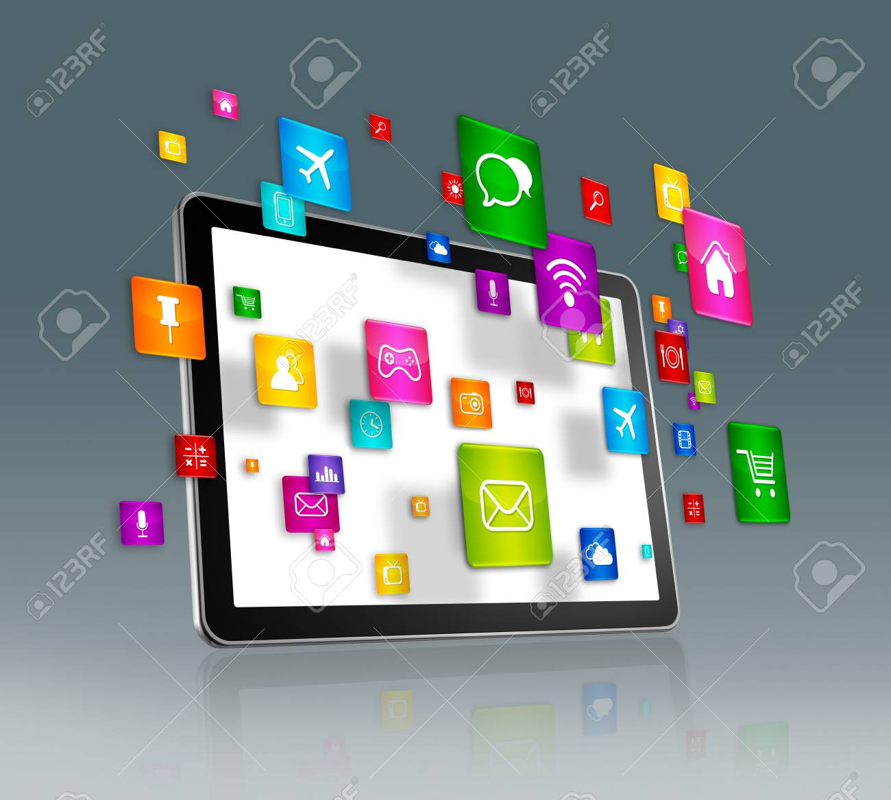 3d tablet numérique avec le vol apps icônes - isolé sur gris banque