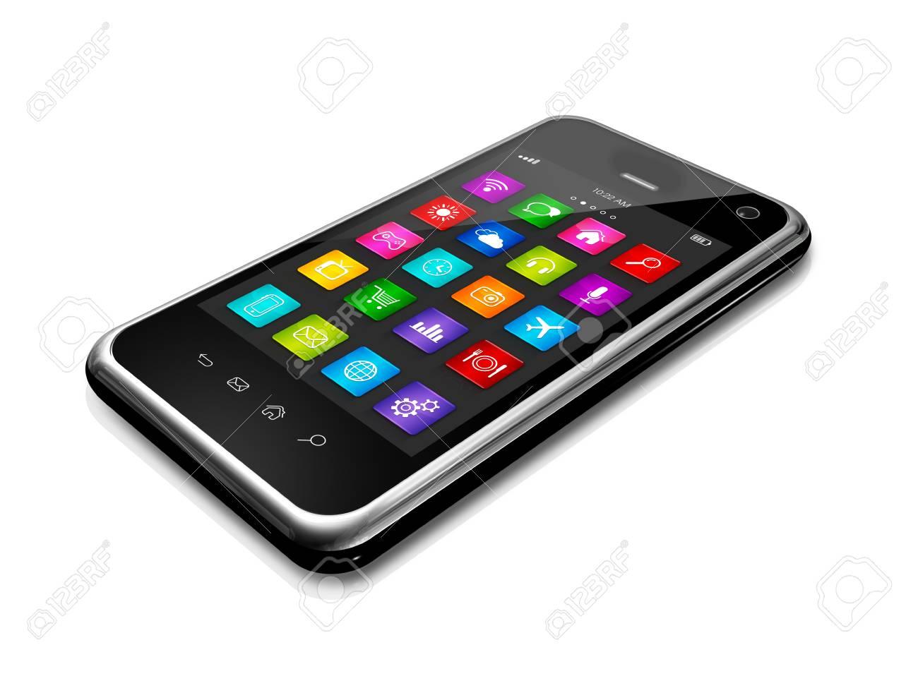 téléphone mobile 3d, téléphone mobile avec interface icônes apps