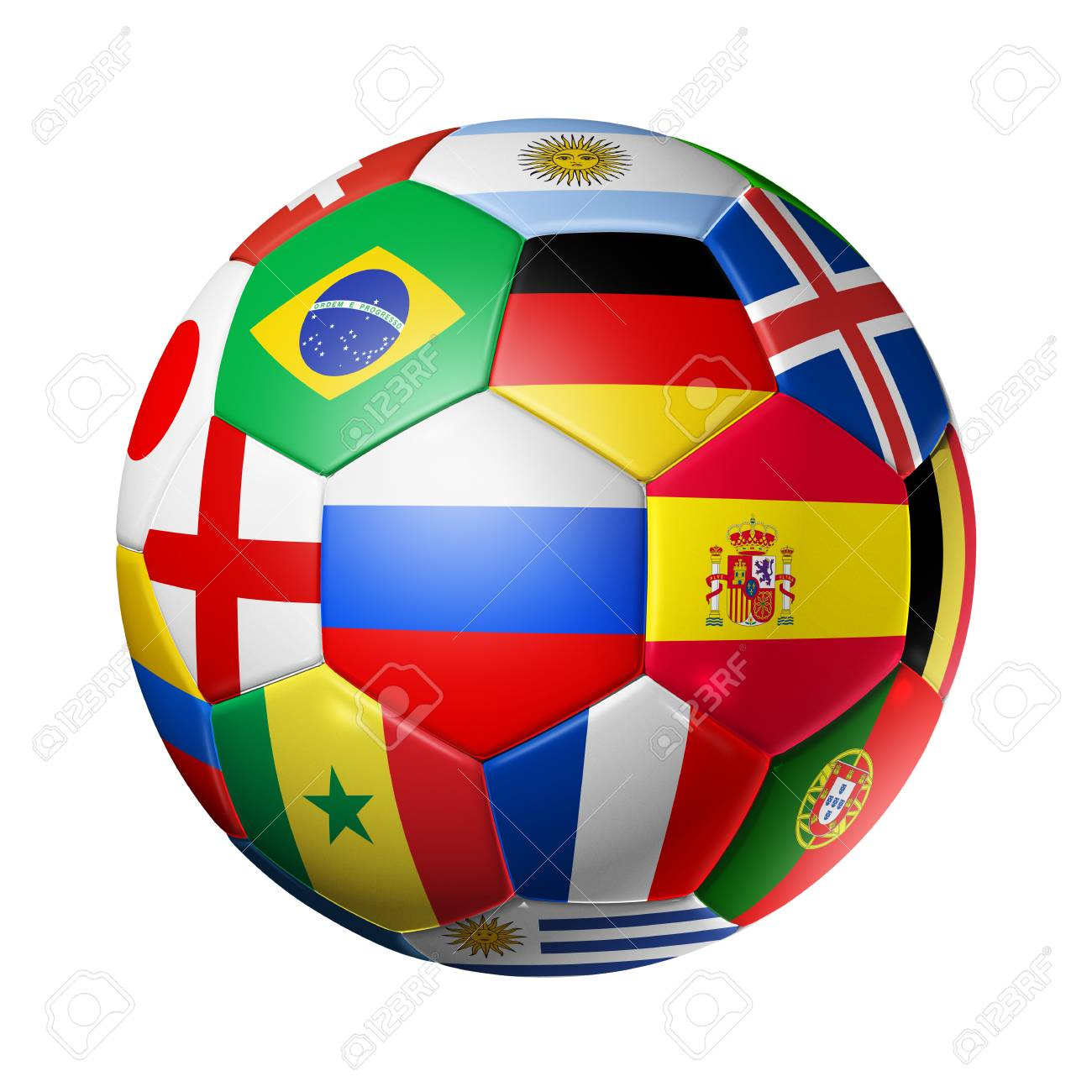 3D football soccer ball with team national flags. Russia 2018. Isolated on  white Stock 759f491427cd