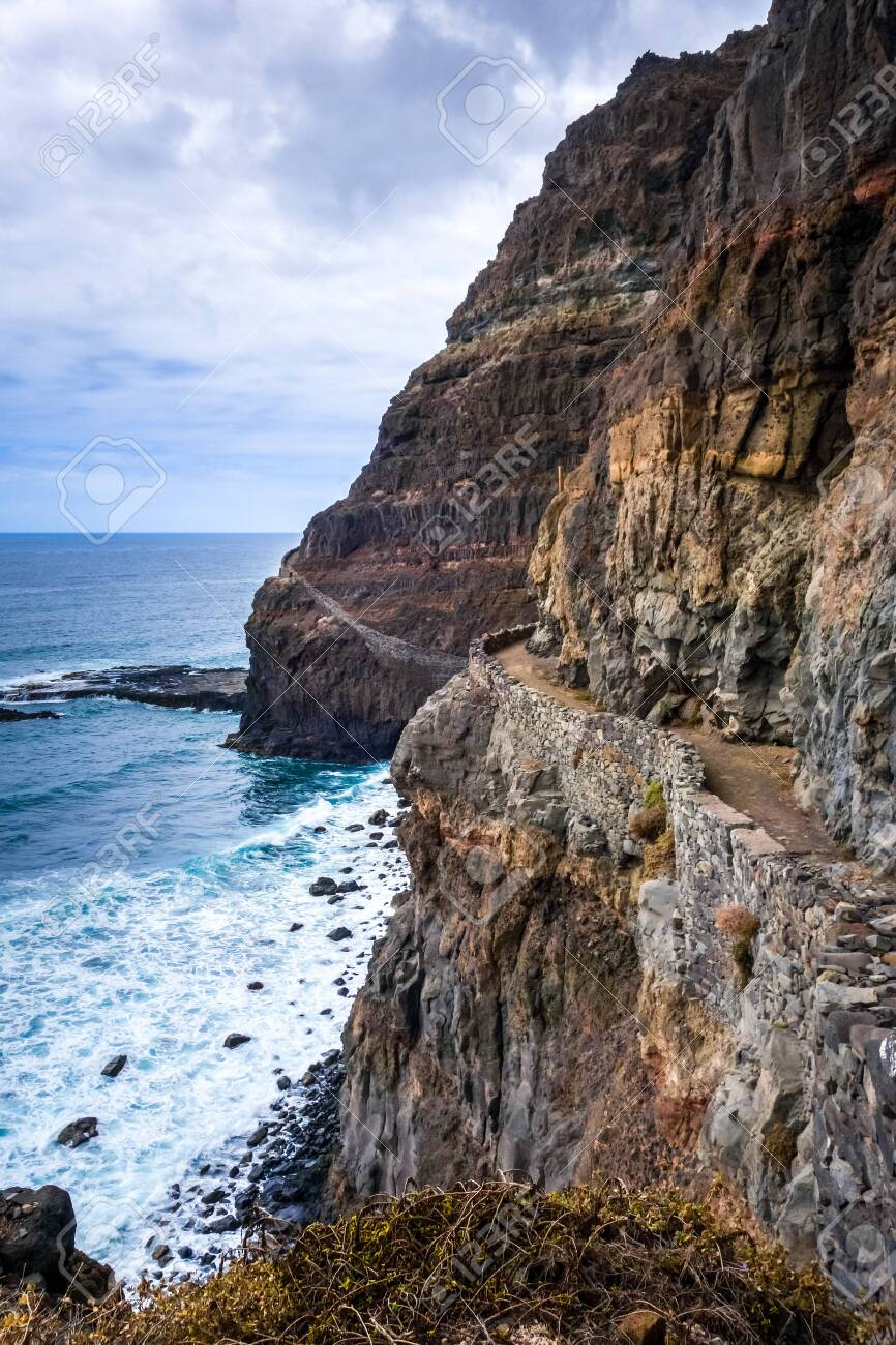 Cliffs and ocean view from coastal path in Santo Antao island, Cape Verde, Africa - 145466702