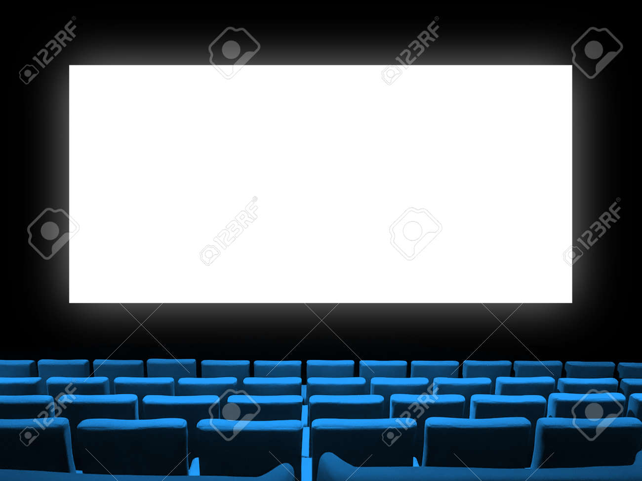 Cinema movie theatre with blue velvet seats and a blank white screen. Copy space background - 167384951