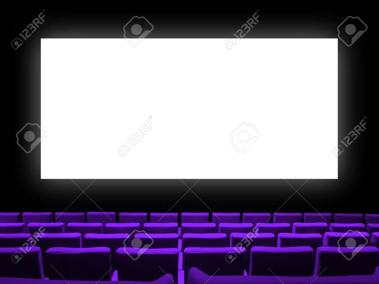 Cinema movie theatre with purple velvet seats and a blank white screen. Copy space background - 167919851