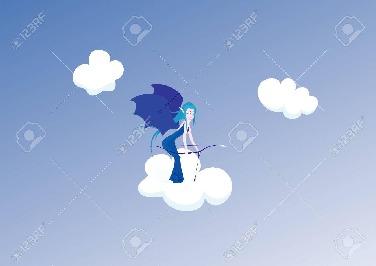 Beautiful elf archer in the sky.  illustration. Stock Vector - 7966082