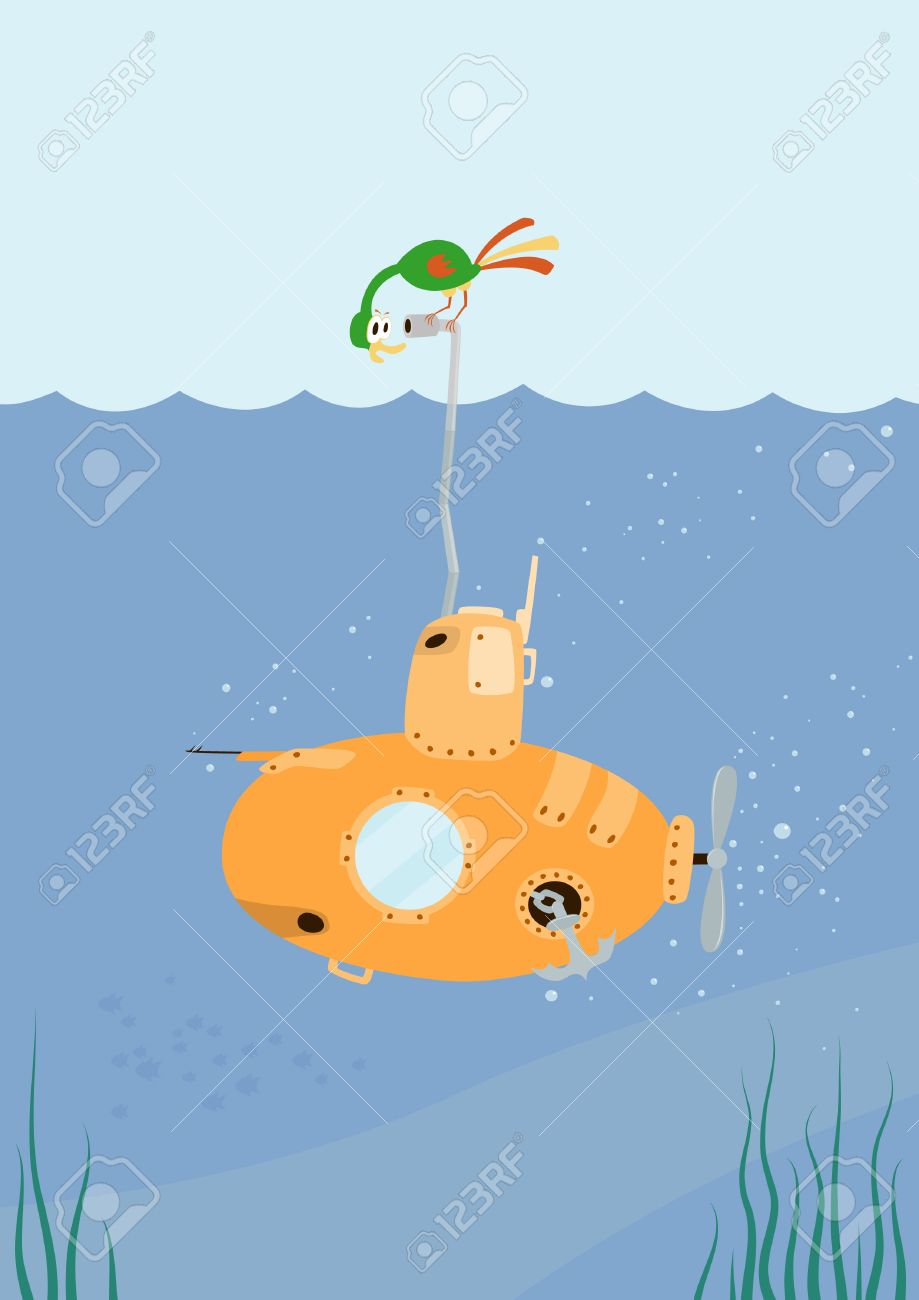 Cartoon Submarine with funny color bird on the periscope.   Illustration. Stock Vector - 8480036