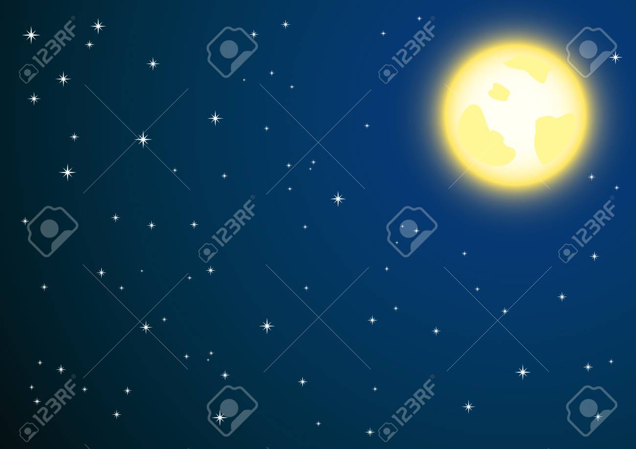 background of night sky and full moon Stock Vector - 8480033
