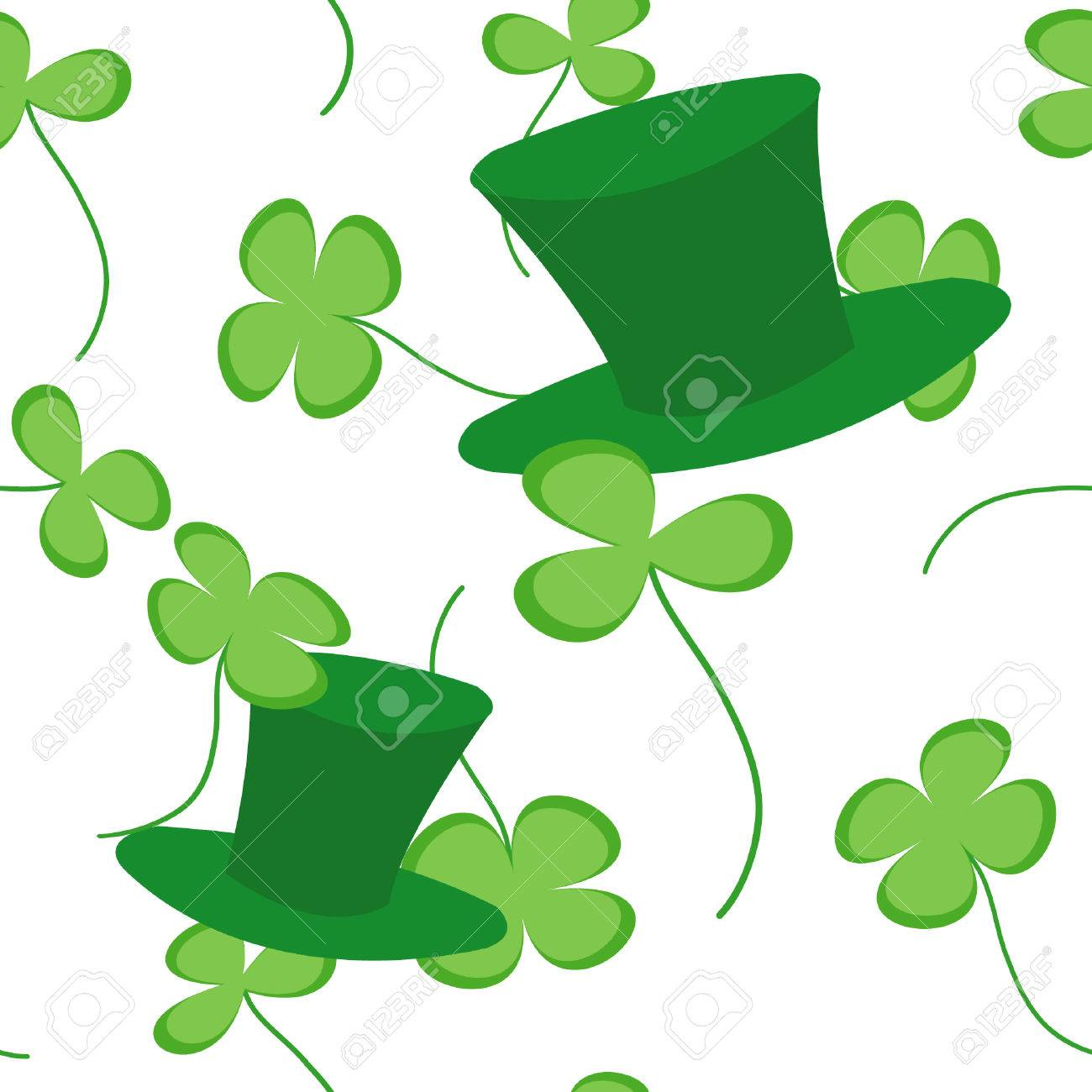 Vector seamless texture with clovers and green hats Stock Vector - 8984592