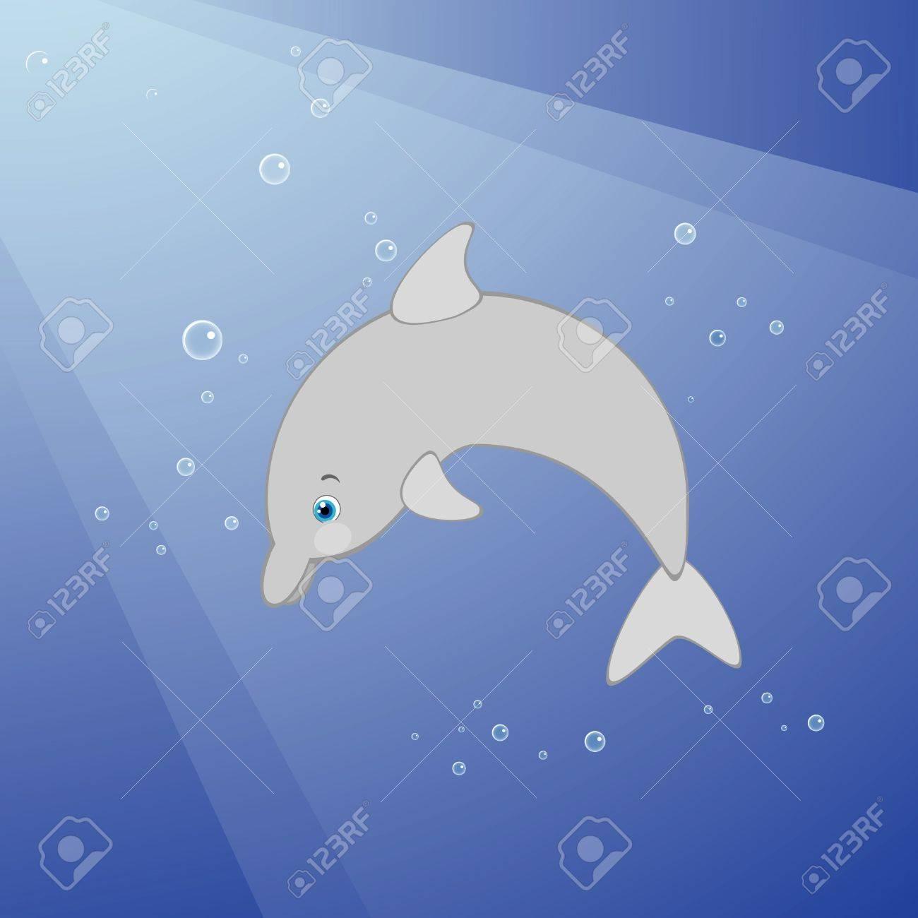 Vector illustration of cute dolphin underwater Stock Vector - 9941829
