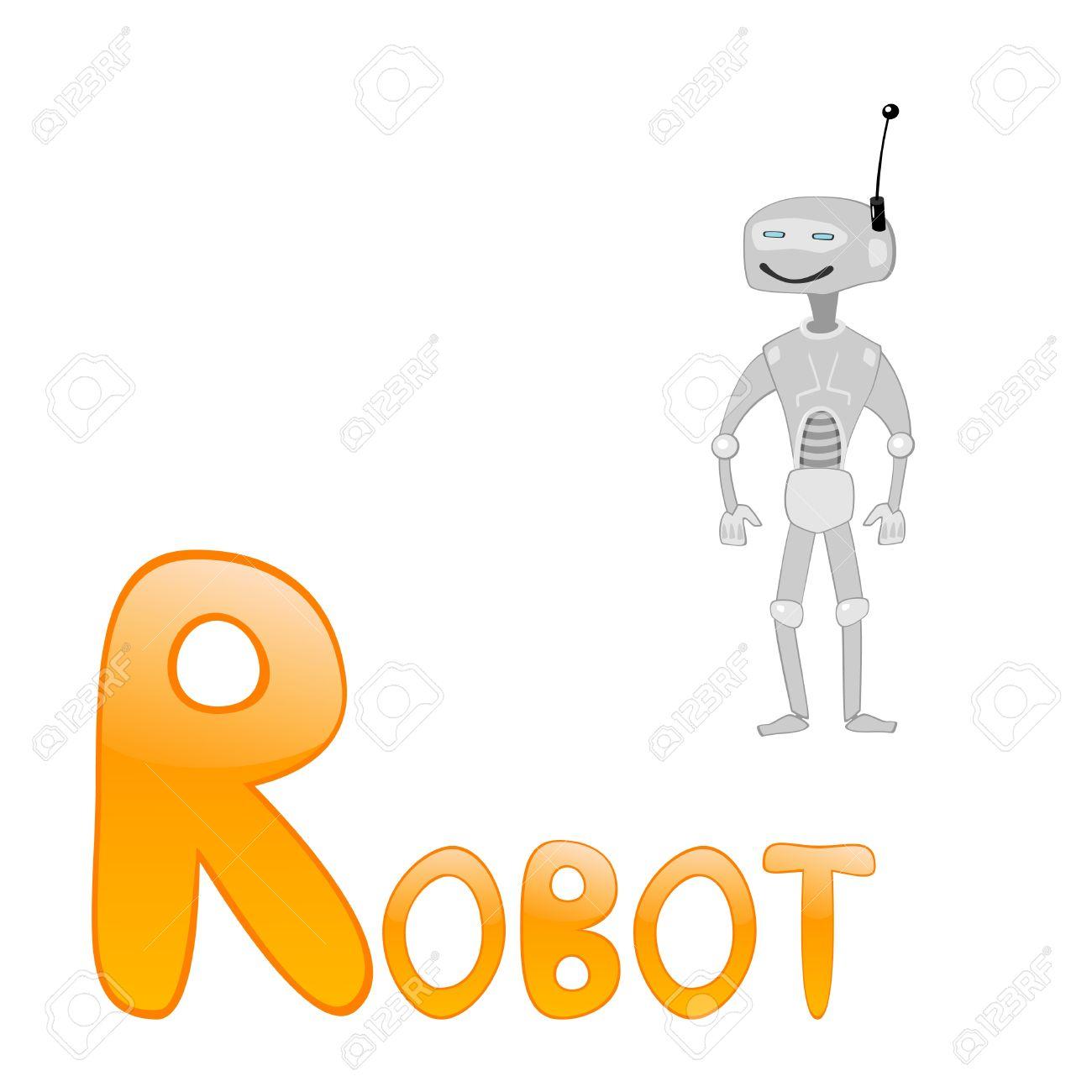 Funny alphabet for children. Robot - letter R. - 9941776