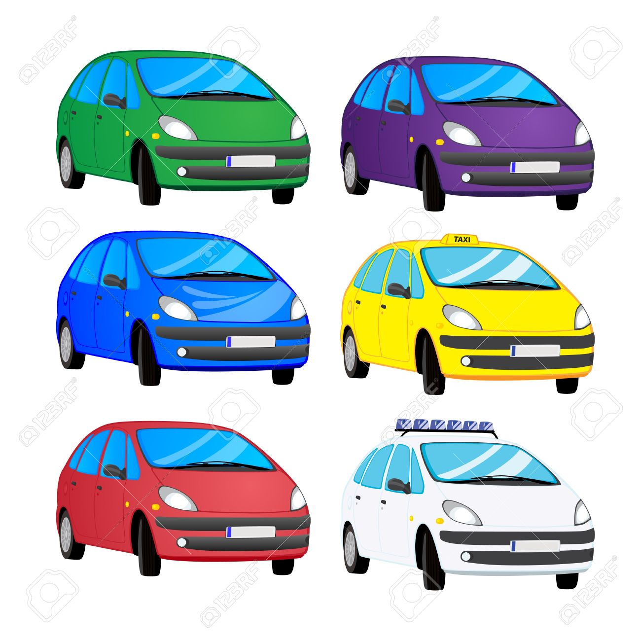 Collection Of Cartoon Color Cars Royalty Free Cliparts Vectors And