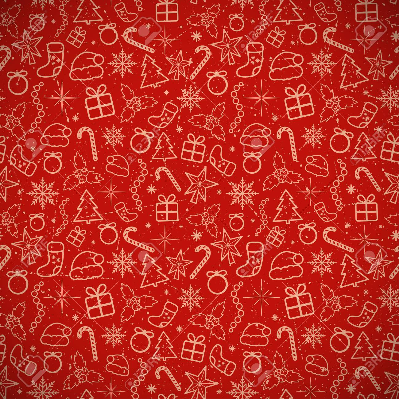 Red Christmas Background.Red Christmas Traditional Background Vector Illustration