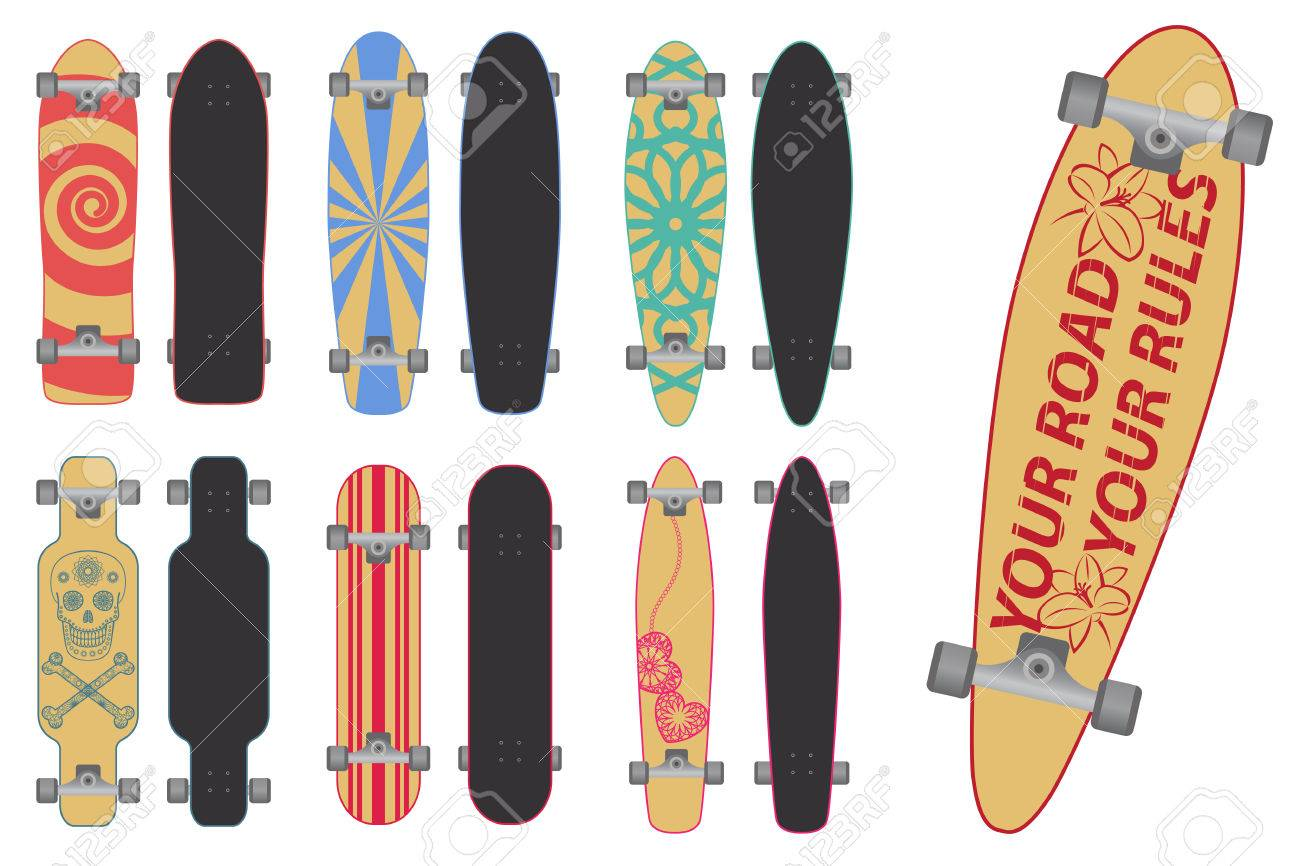 0c6fc9b0 Set Of Skateboards And Long Boards Royalty Free Cliparts, Vectors ...