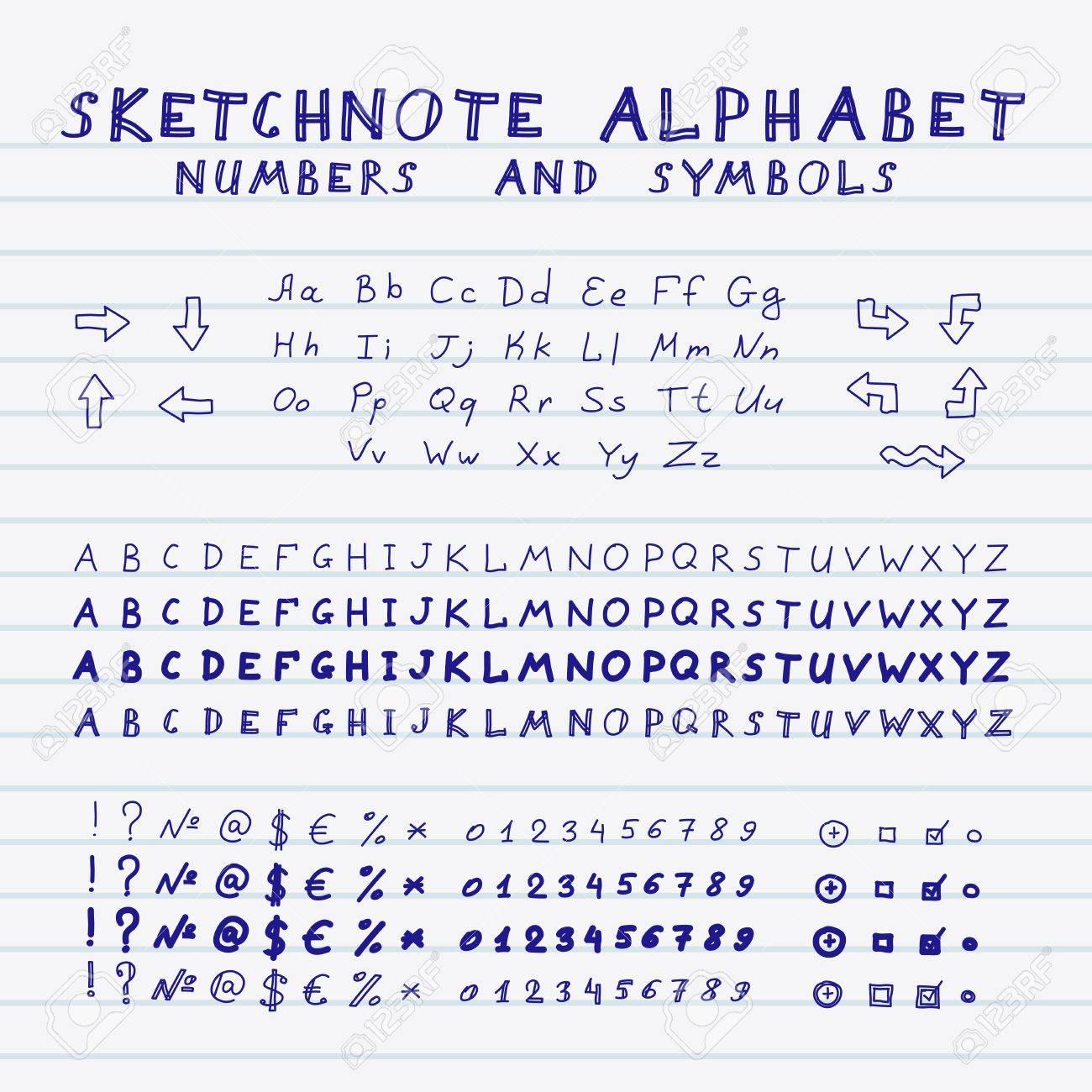 Hände Zeichnung Sketch Alphabet Vektor Reihe Von Buchstaben Zahlen