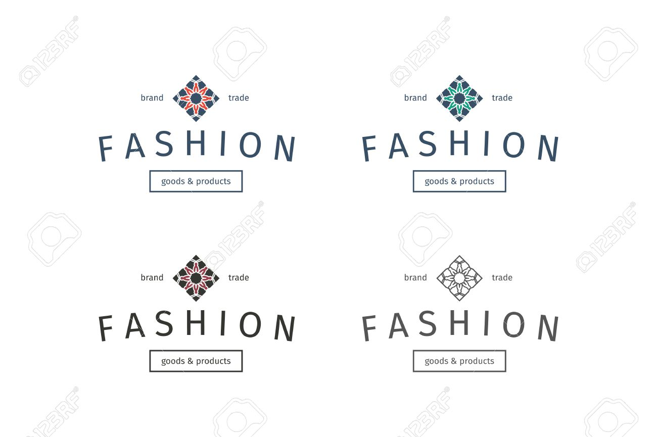 Foto de archivo , Moda tiendas logo plantillas asiáticos establecidos. Vector diseño ornamental étnica de prendas de vestir y accesorios boutiques.