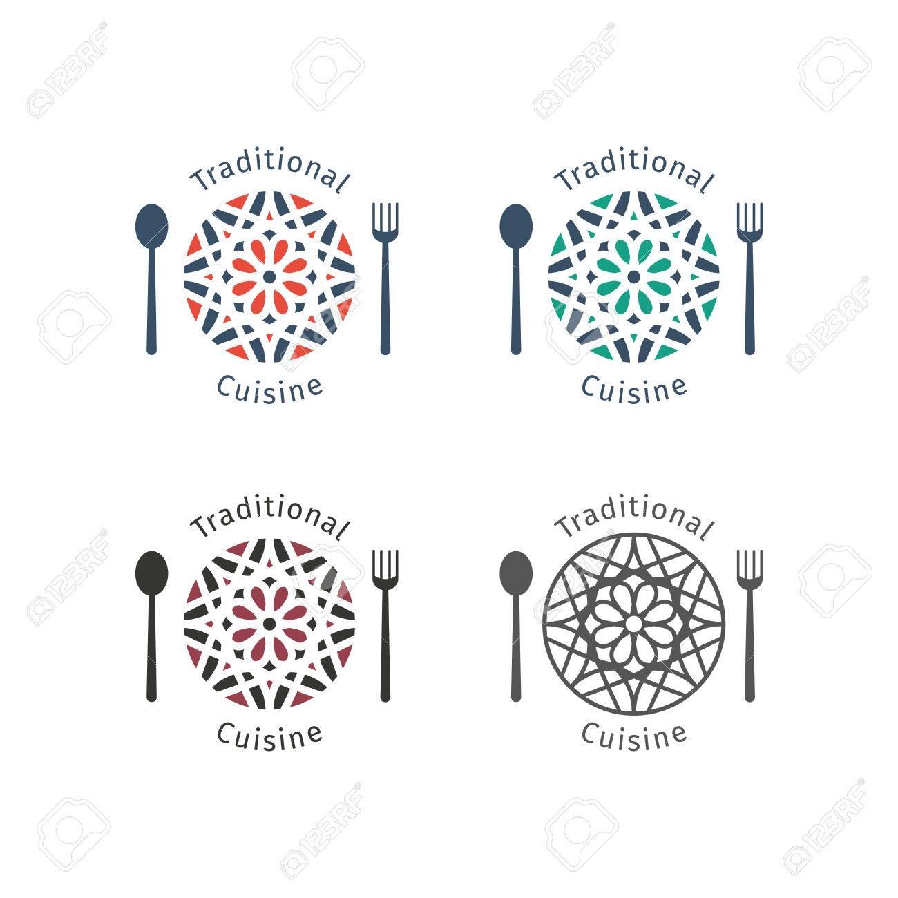 spesso Modelli Di Cibo Logo Asiatici Impostati. Disegno Ornamentale  HO89