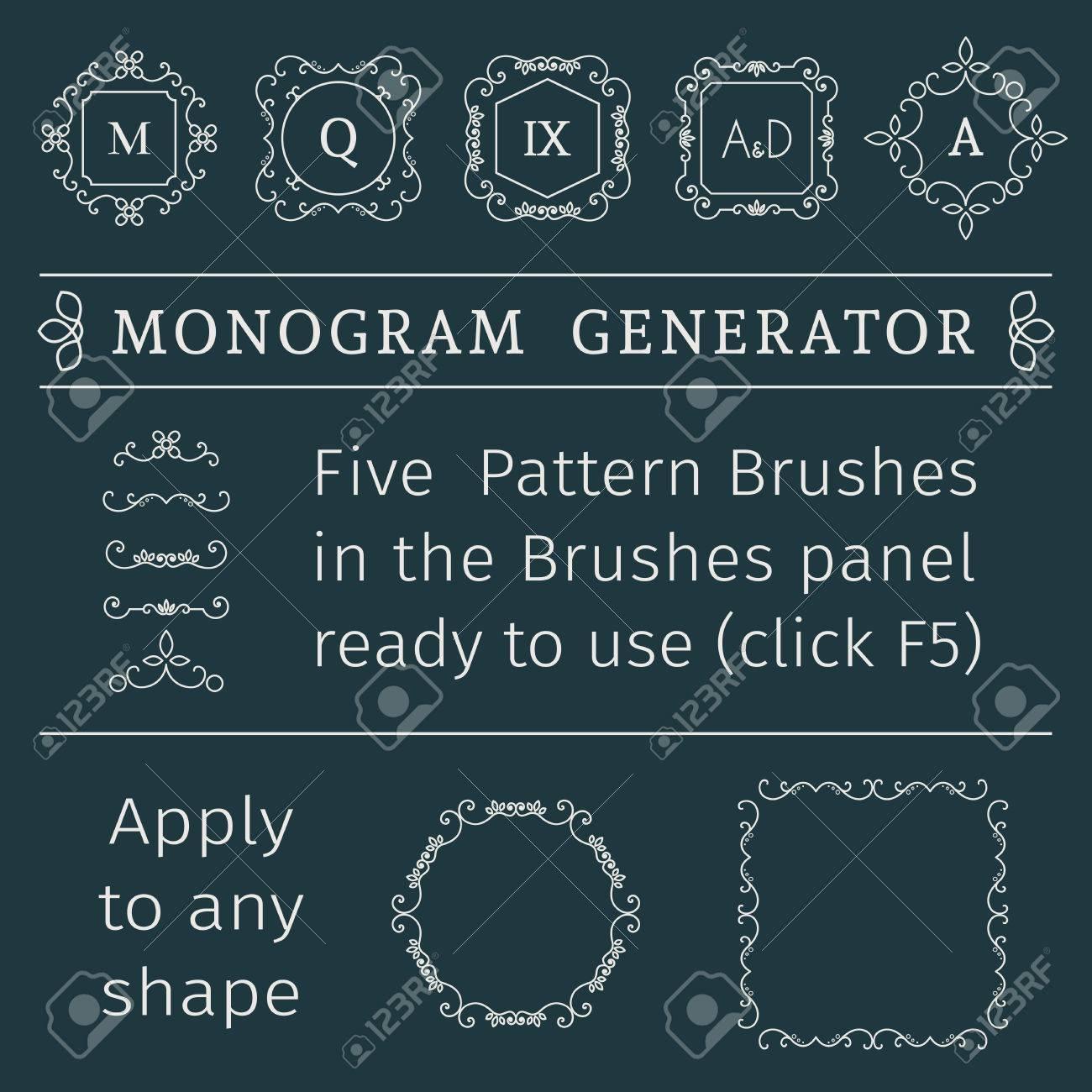 Vintage Monogram Generator. Vector Set Of Luxury Templates And ...