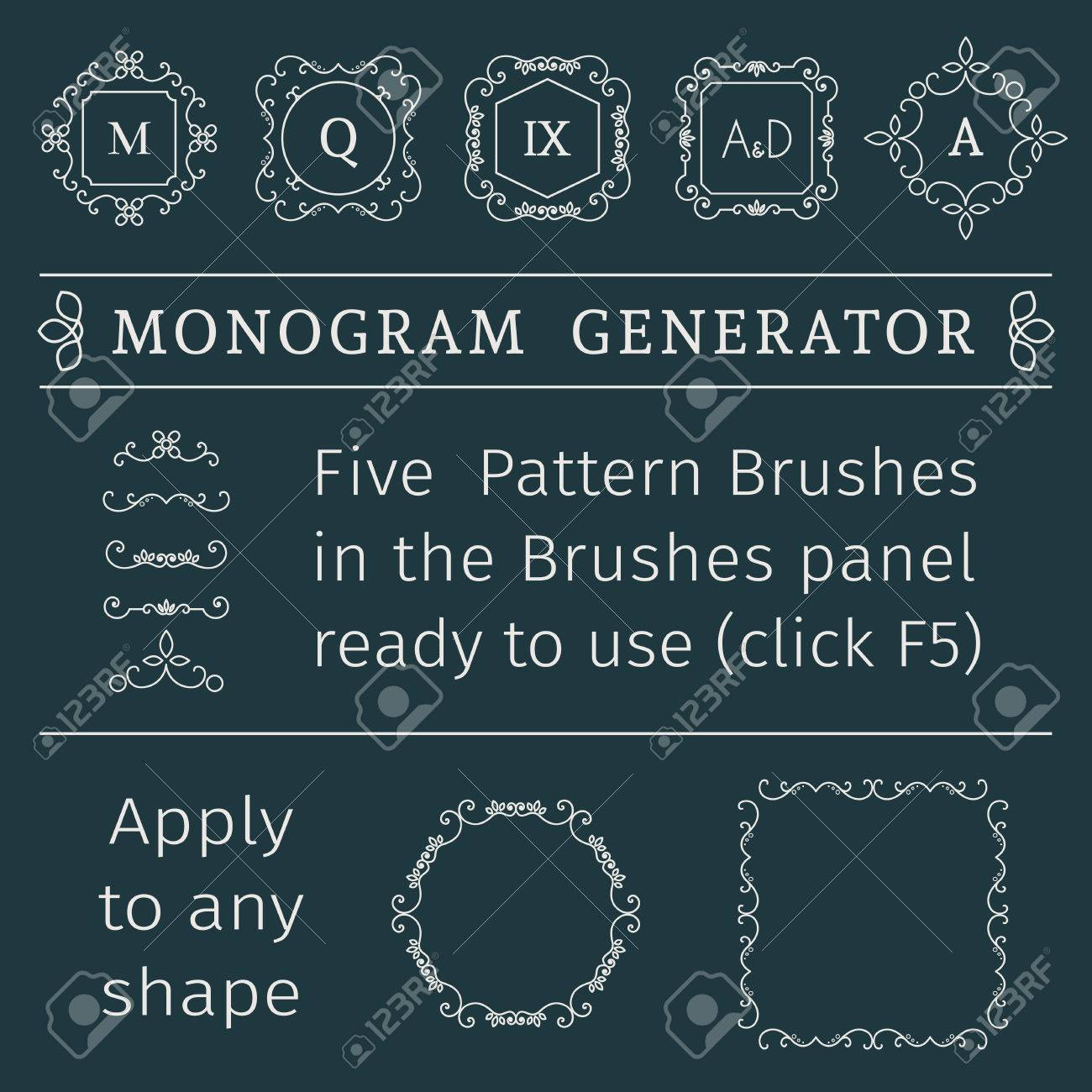 Vintage monogram generator  Vector set of luxury templates and