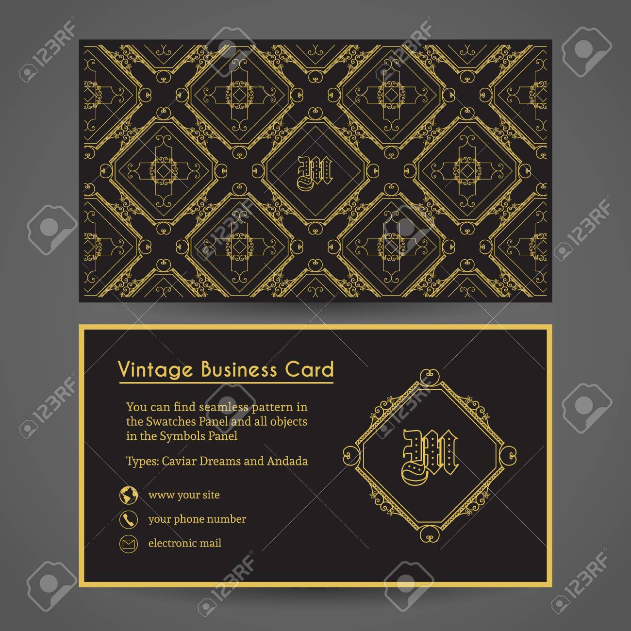 Luxury vintage business card vector editable template include luxury vintage business card vector editable template include front and back side seamless pattern reheart Gallery