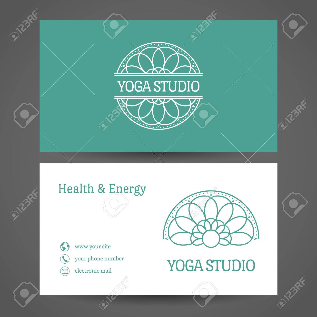 Yoga ornamental business card vector editable template include vector yoga ornamental business card vector editable template include front and back side for relax or spa center yoga studio healthcare and reheart Images
