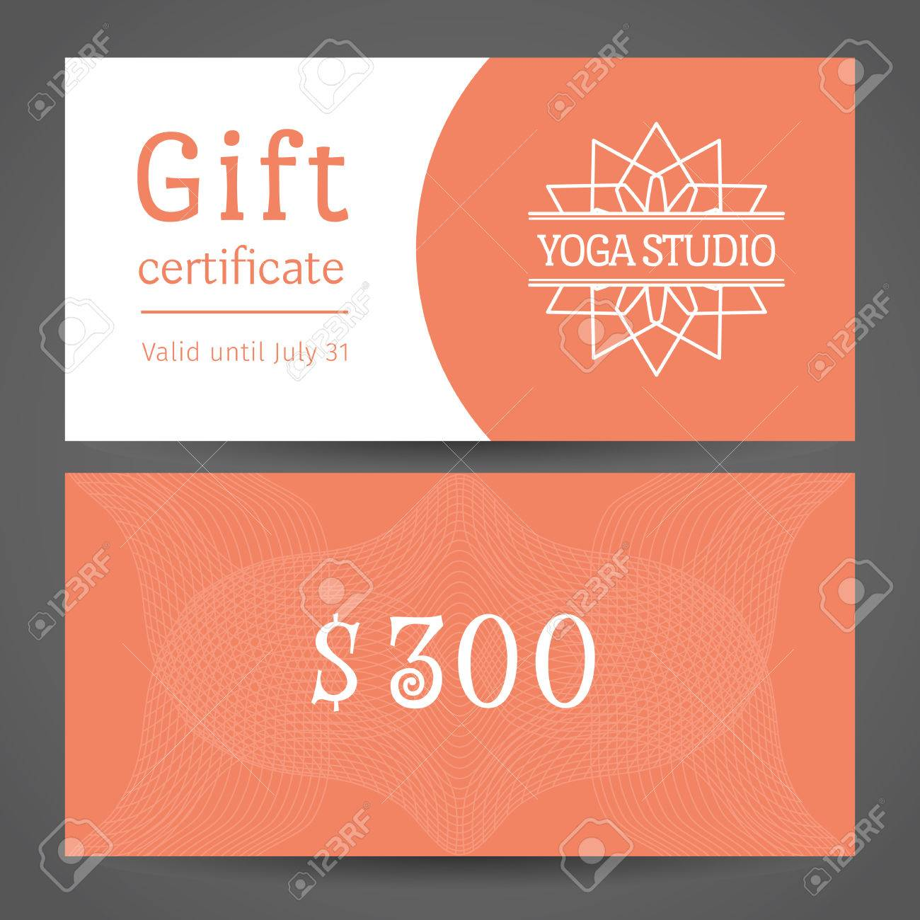 yoga ornamental gift certificate vector editable template include