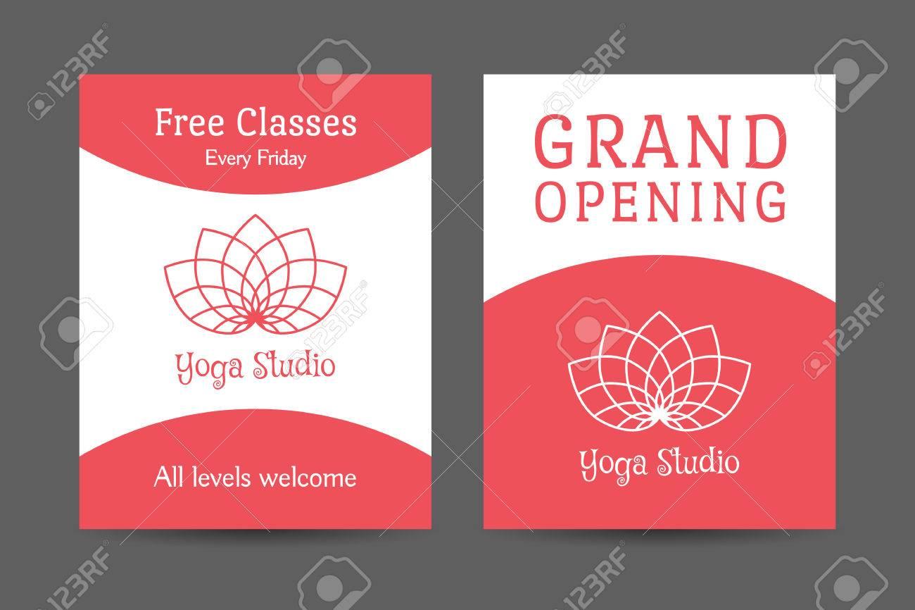 Yoga Ornamental Diseño De Flyer Folleto. Vector Plantilla Editable ...