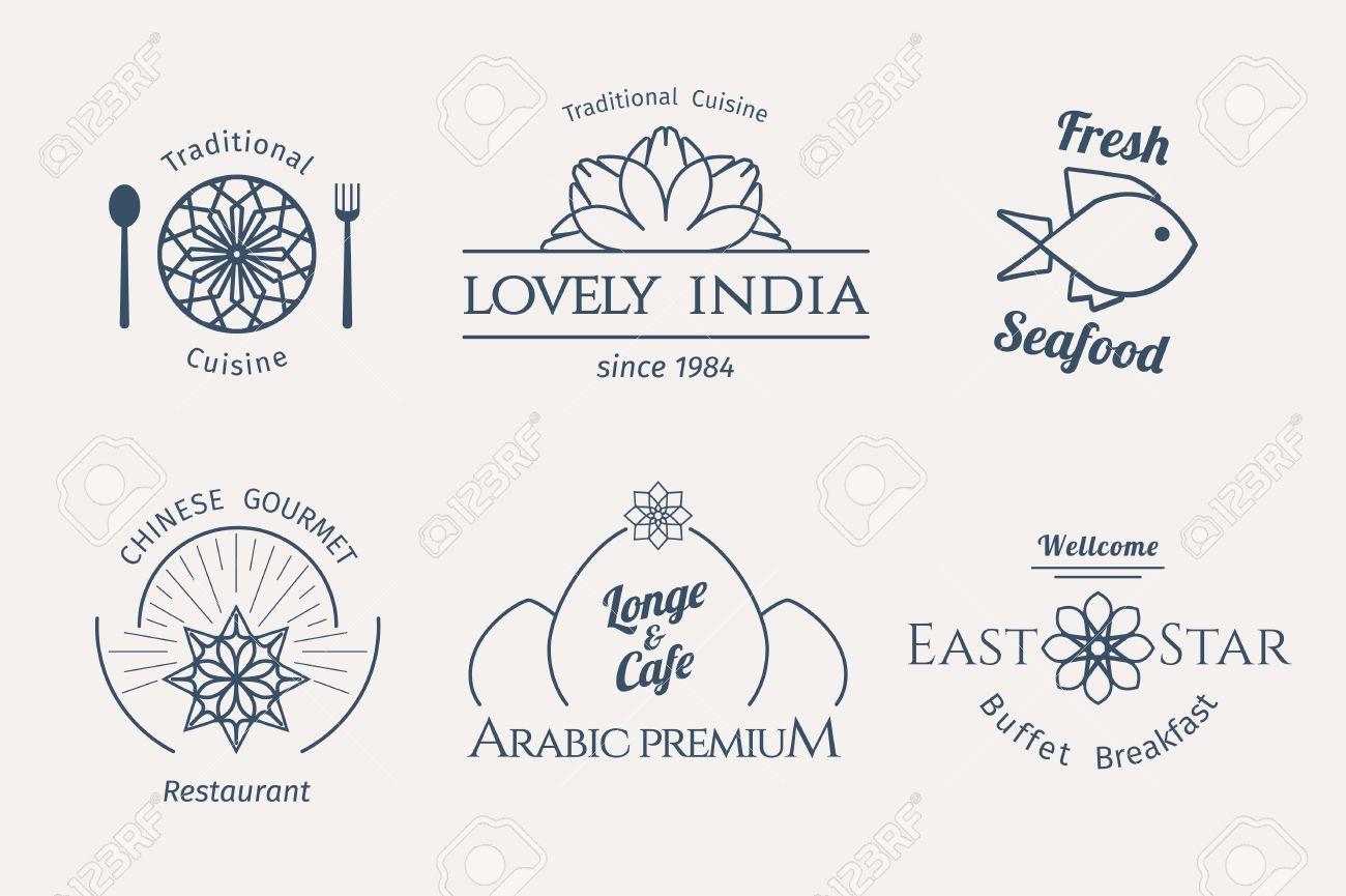 Famoso Modelli Di Cibo Logo Asiatici Impostati. Disegno Ornamentale  HO82