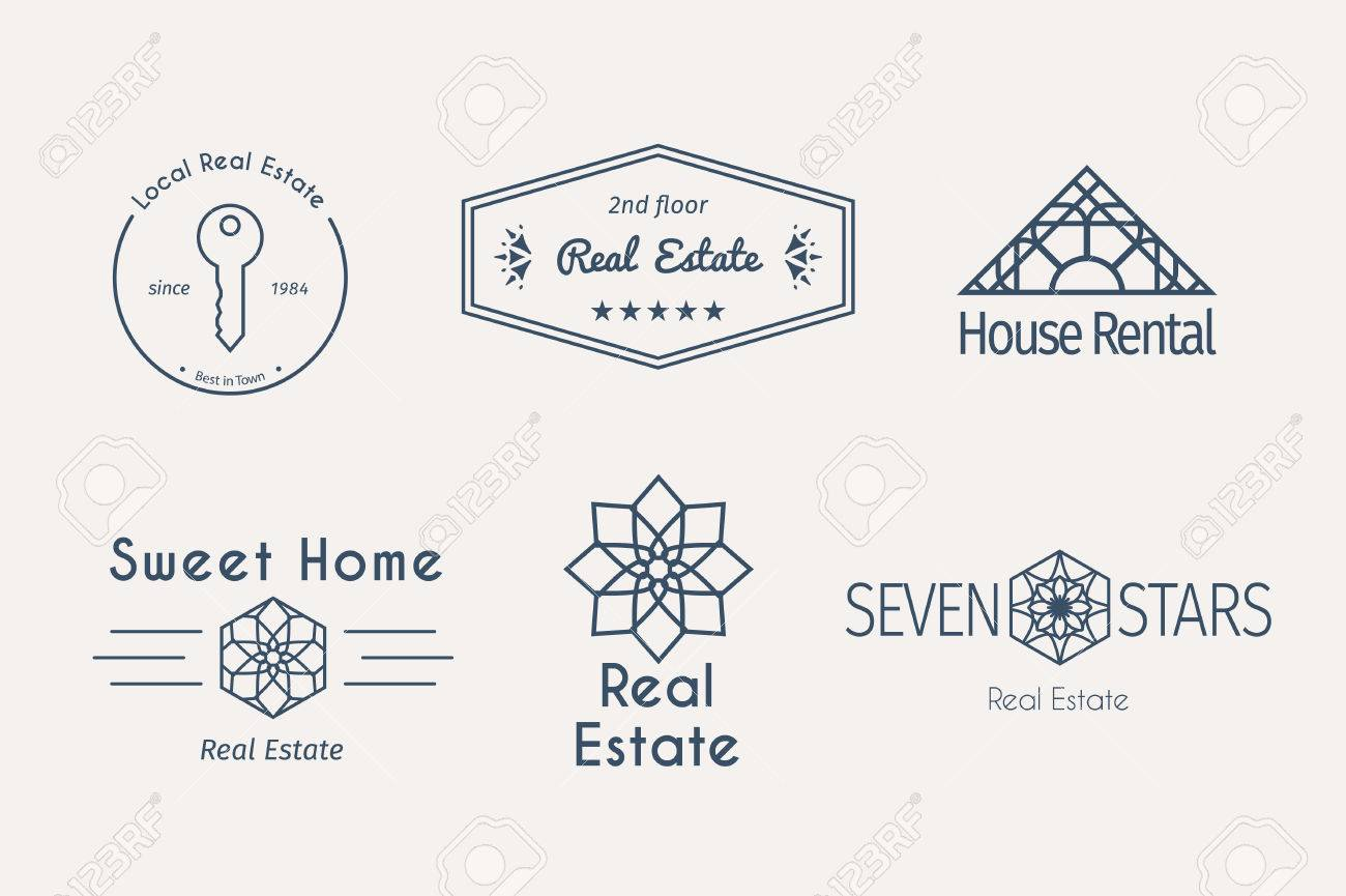 asian real estate logo templates set vector ethnic ornamental