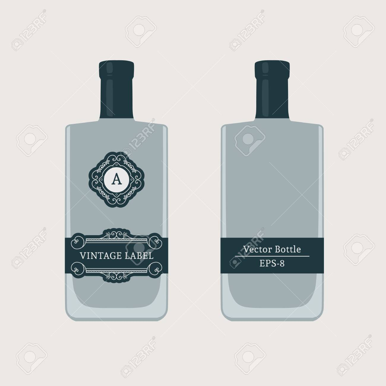 Vintage Bottle Label. Vector Template For Whiskey Or Vodka Design ...