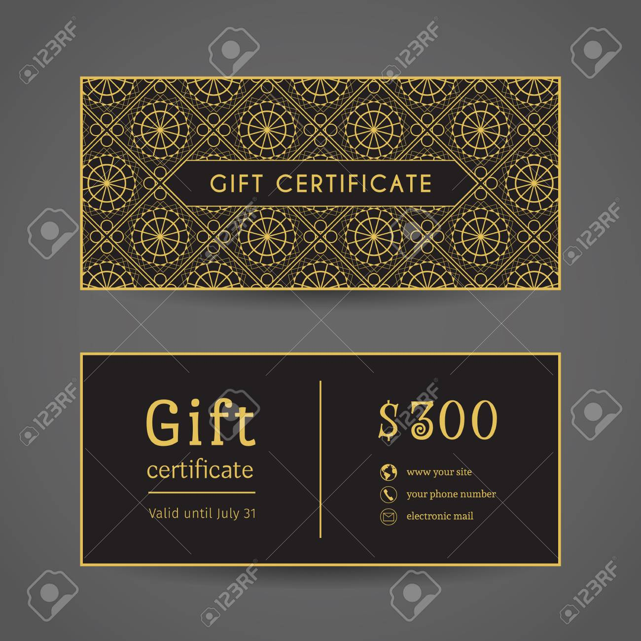 vintage ornamental gift certificate editable template include