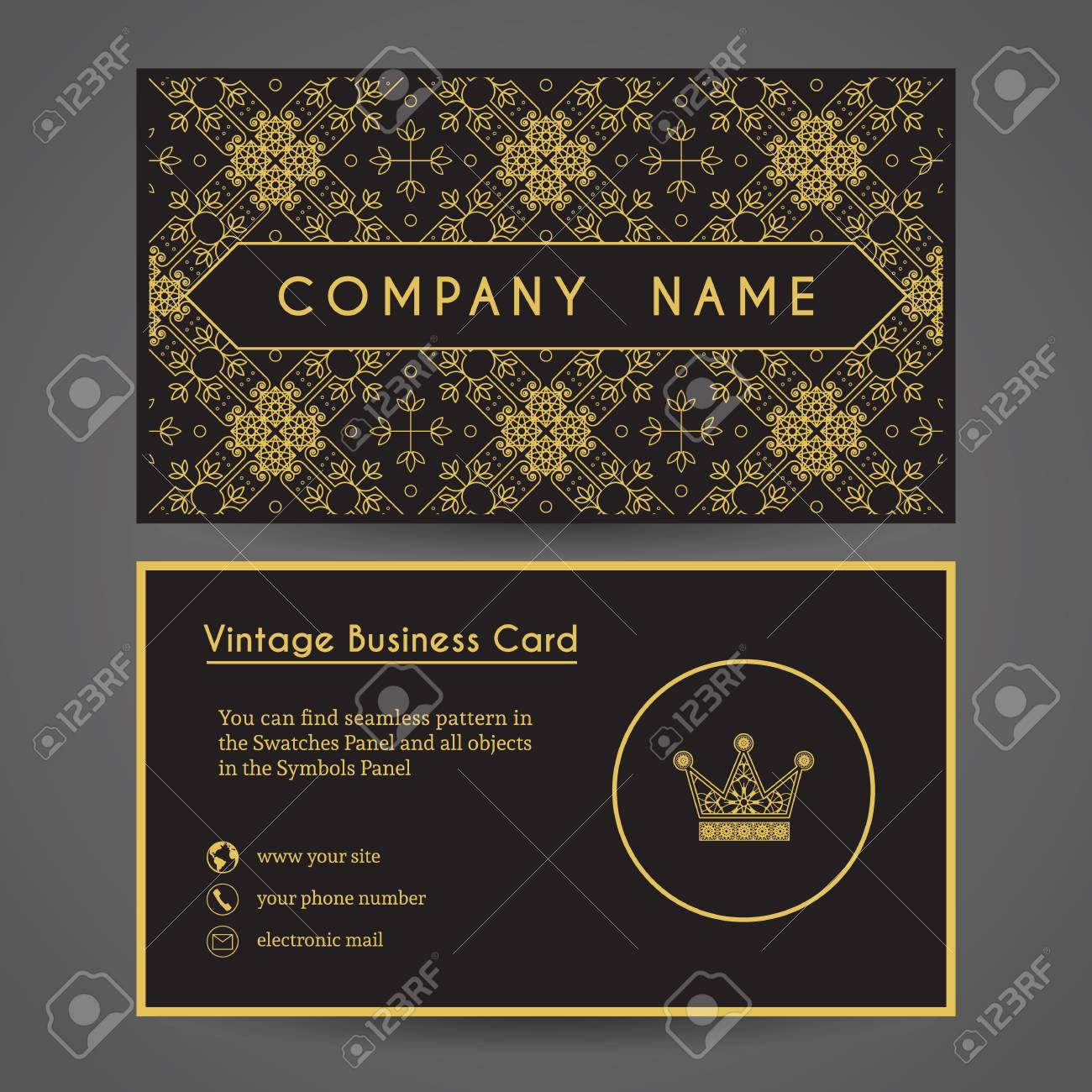 Ornamental Vintage Business Card With Crown. Vector Editable ...