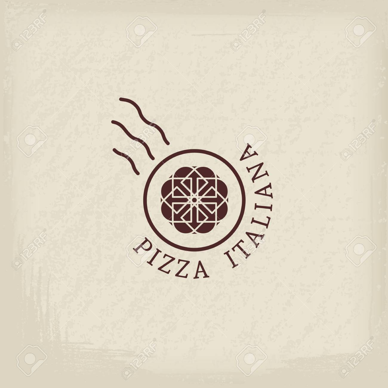 Pizzeria Logo Template With Text Italian Pizza In Italian Emblems For Restaurants Cafe