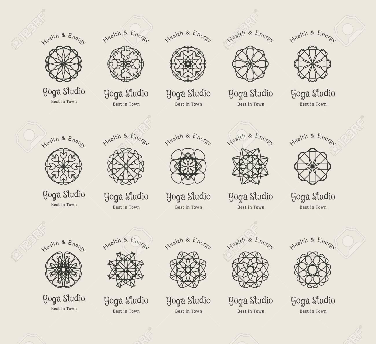 Yoga Ornamental Emblem Set Vector Lineart Logo Templates For