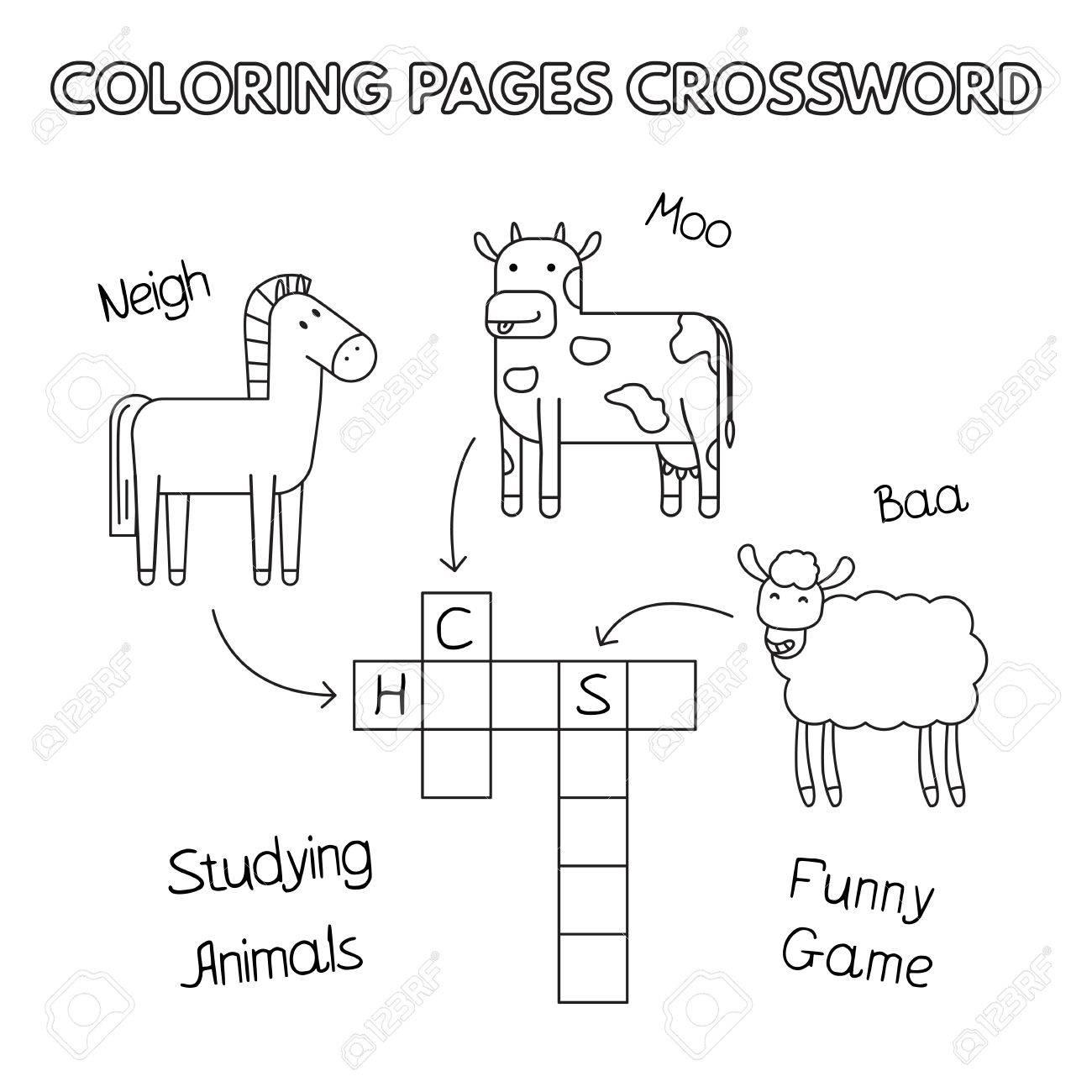 Farm Animals Coloring Book Crossword Royalty Free Cliparts, Vectors ...