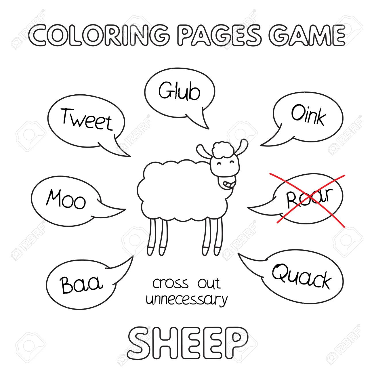 Cartoon Sheep Coloring Book Royalty Free Cliparts, Vectors, And ...