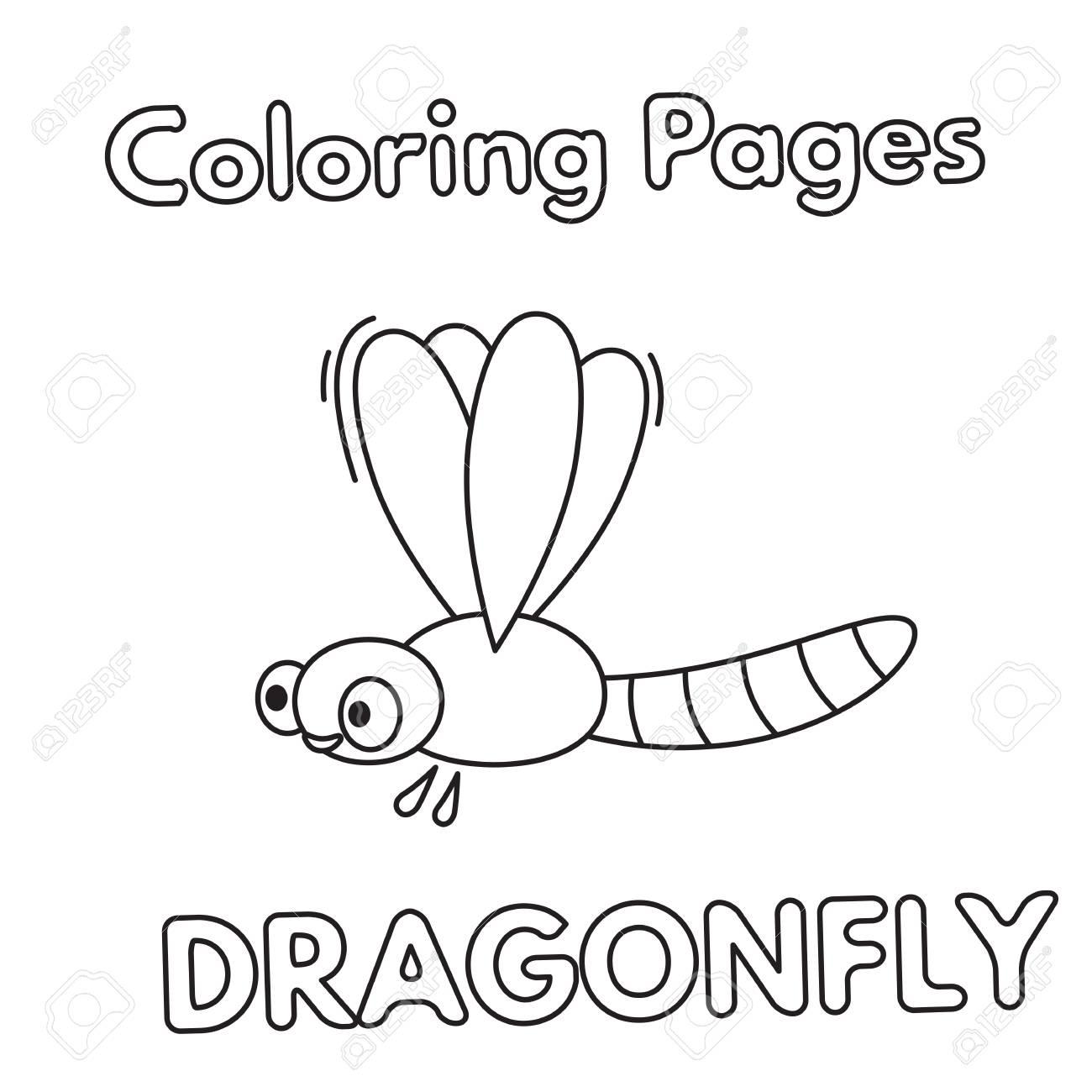 Cartoon Dragonfly Coloring Book