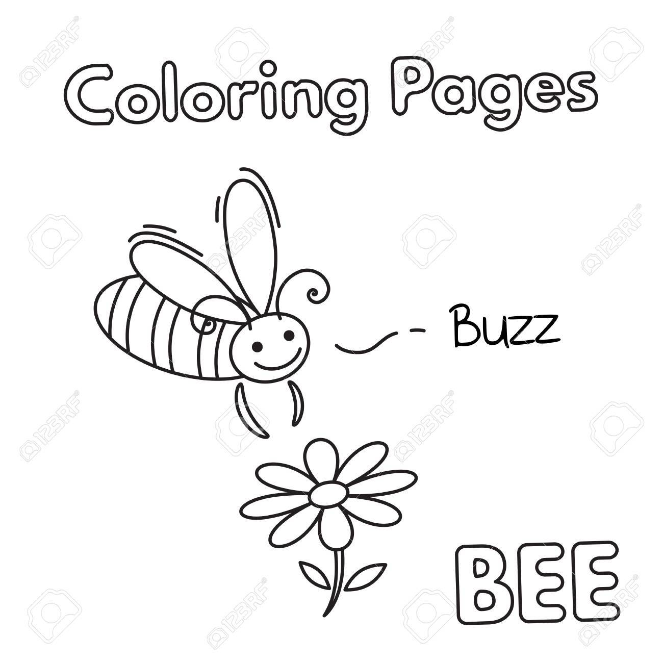 Cartoon Bee Coloring Book Royalty Free Cliparts Vectors And Stock Illustration Image 74693186