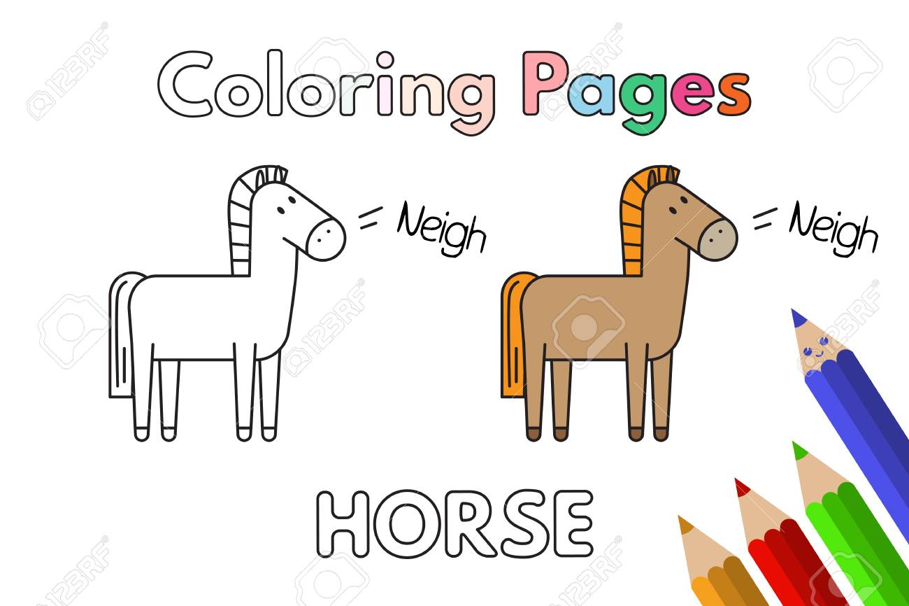 Cartoon sketch of Horses for Coloring Book activities.