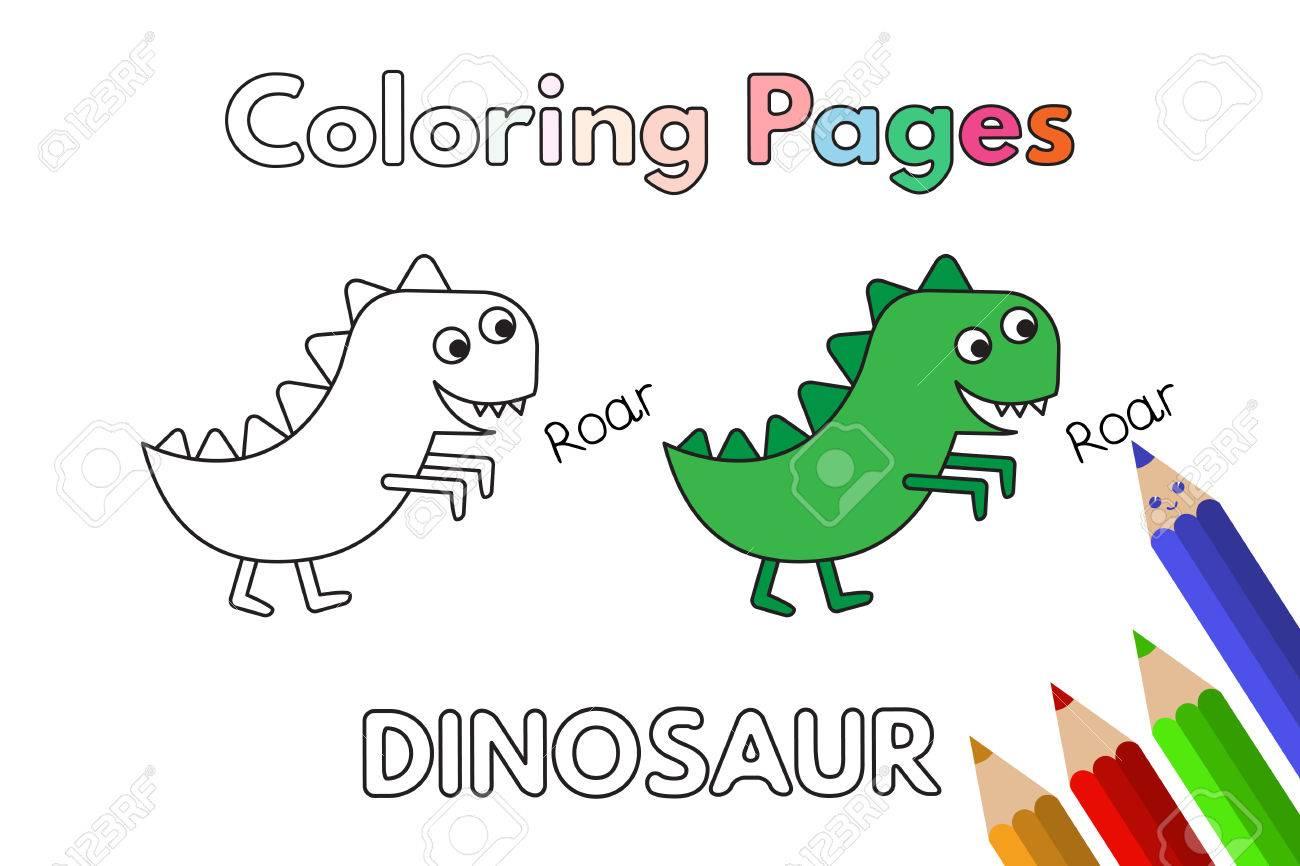 Cartoon Dinosaur Coloring Book Royalty Free Cliparts, Vectors, And ...