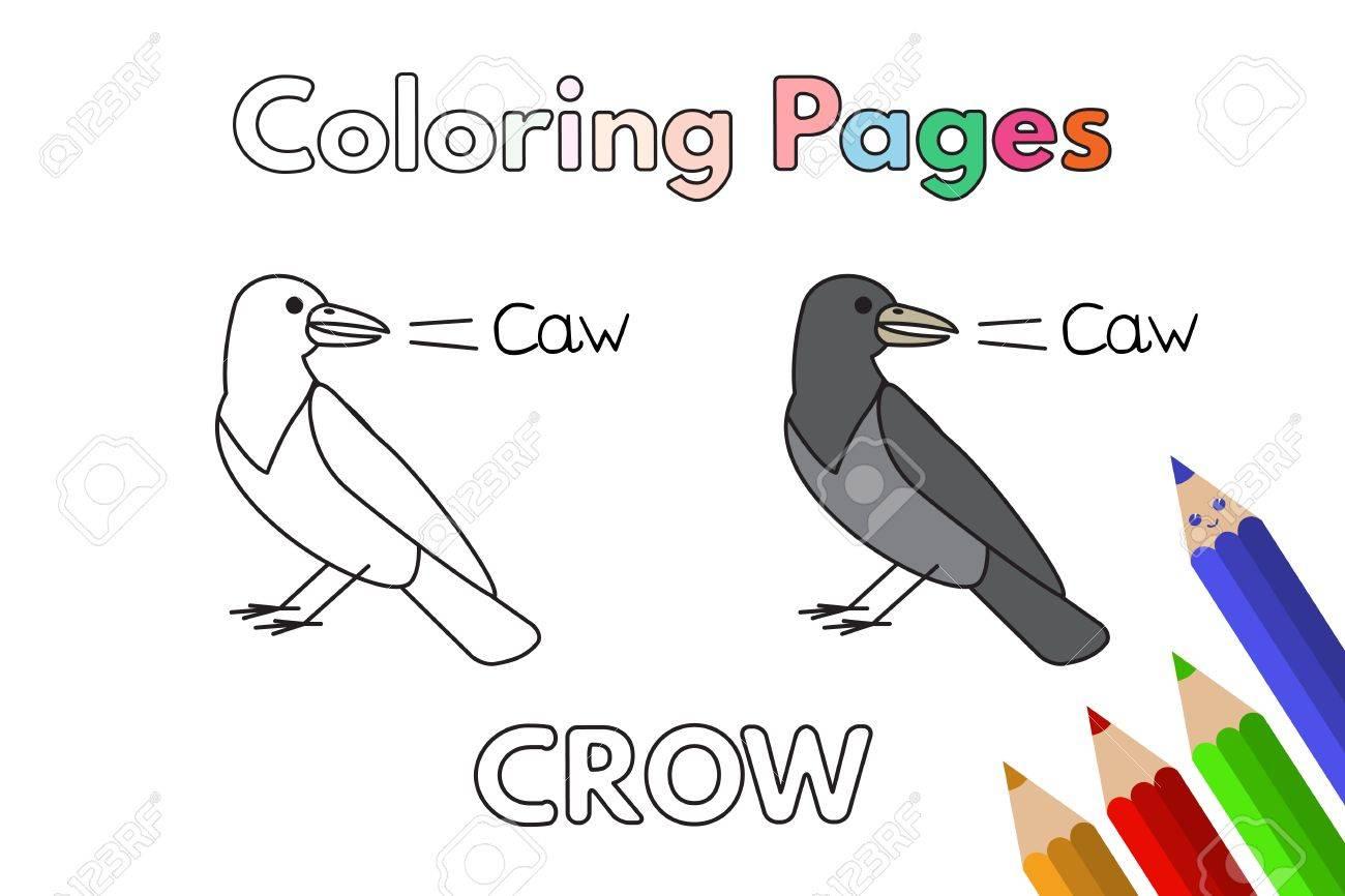 Ilustración De Dibujos Animados Cuervo Vector Páginas De Libro Para Colorear Para Niños