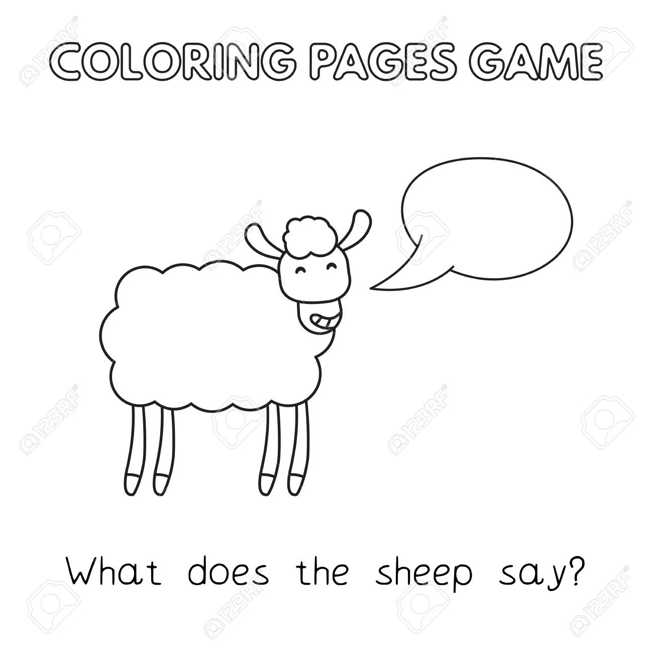 Funny Sheep Kids Learning Game Vector Coloring Book Pages For Children Stock