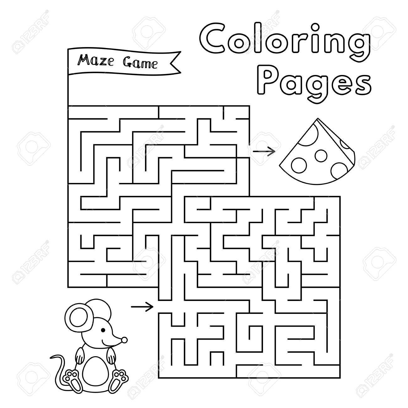 Cartoon Mouse Maze Game. Vector Coloring Book Pages For Children ...