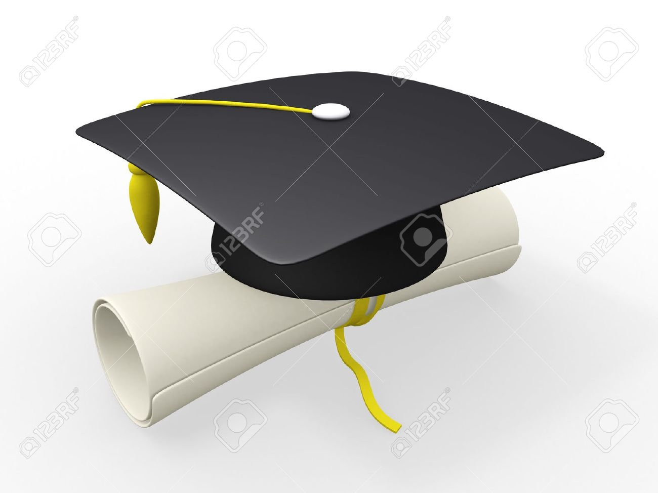 3d Graduation Cap And Diploma Stock Photo, Picture And Royalty Free ...