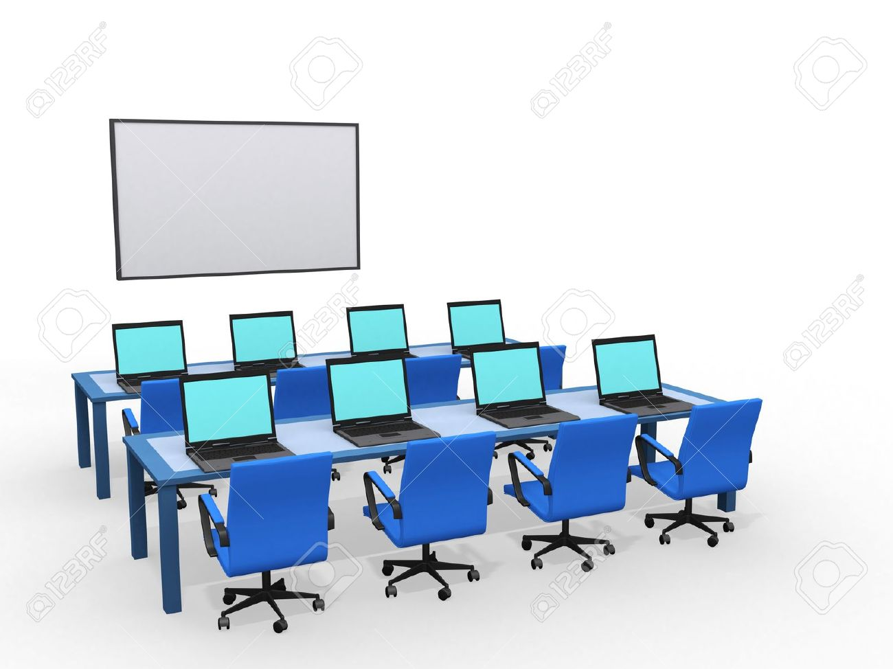 Modern classroom with computers, 3d render