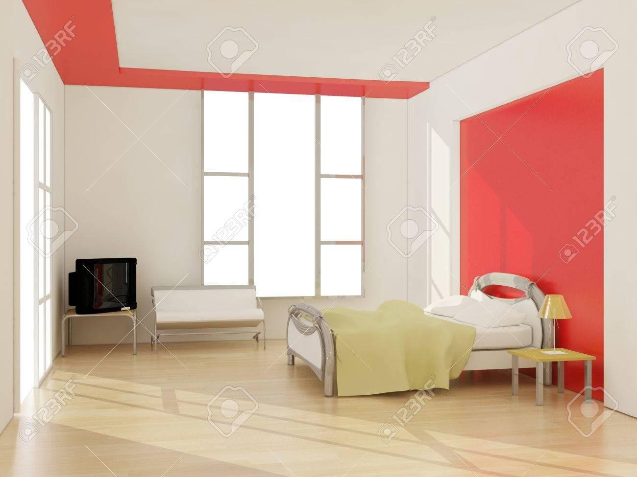 interior of modern bedroom. 3D illustration Stock Illustration - 11429853