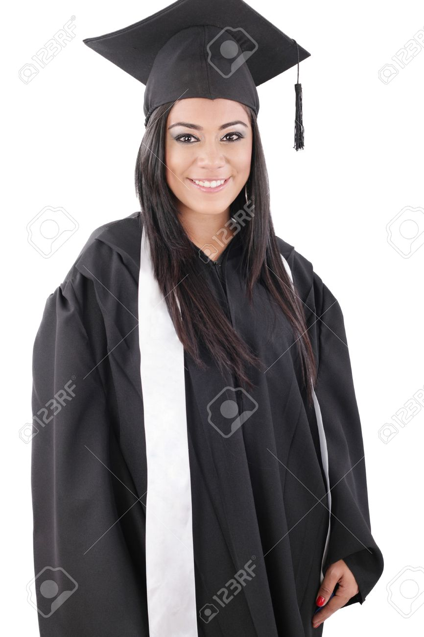 b24e27b66 Foto de archivo - Graduación de una mujer vestida con un traje negro
