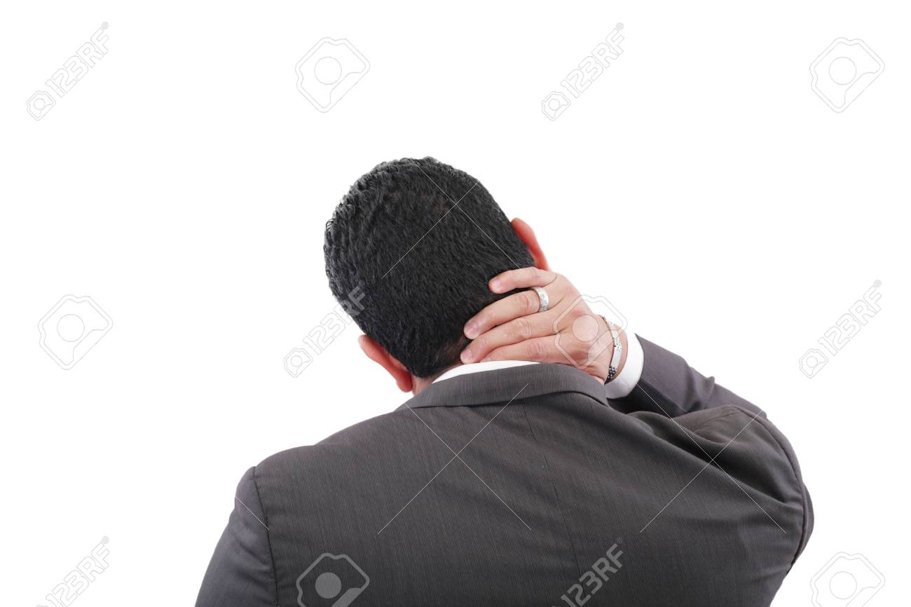 Young businessman having neck pain Stock Photo - 18666558